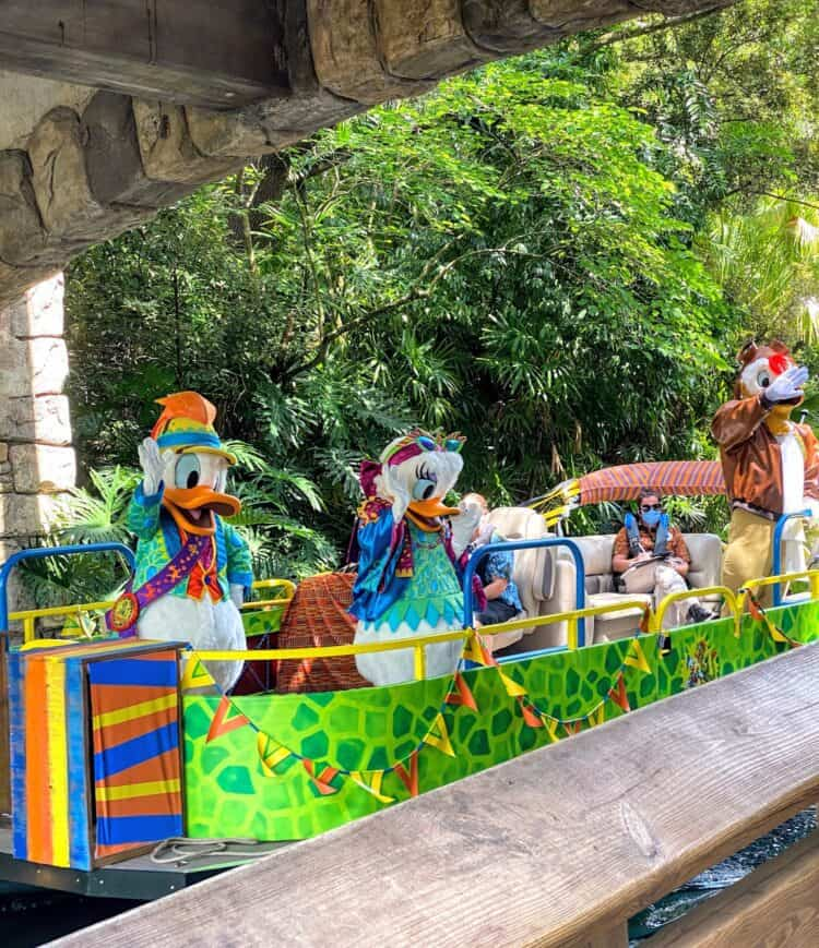 donald, daisy and launchpad mcduck on river animal kingdom