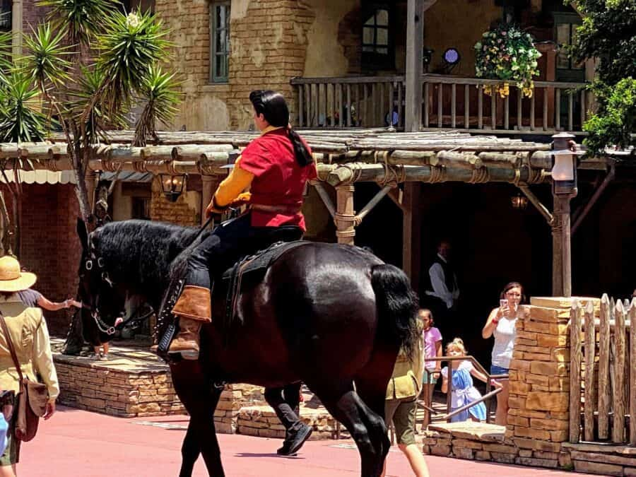 Gaston on a horse at magic kingdom disney world changes that should stay