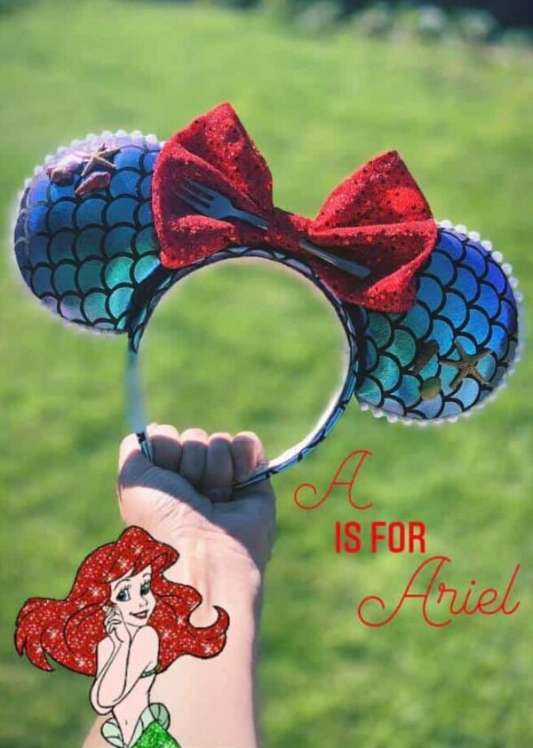 Disney Alphabet free printable PDF download A is for Ariel Disney Minnie Ears