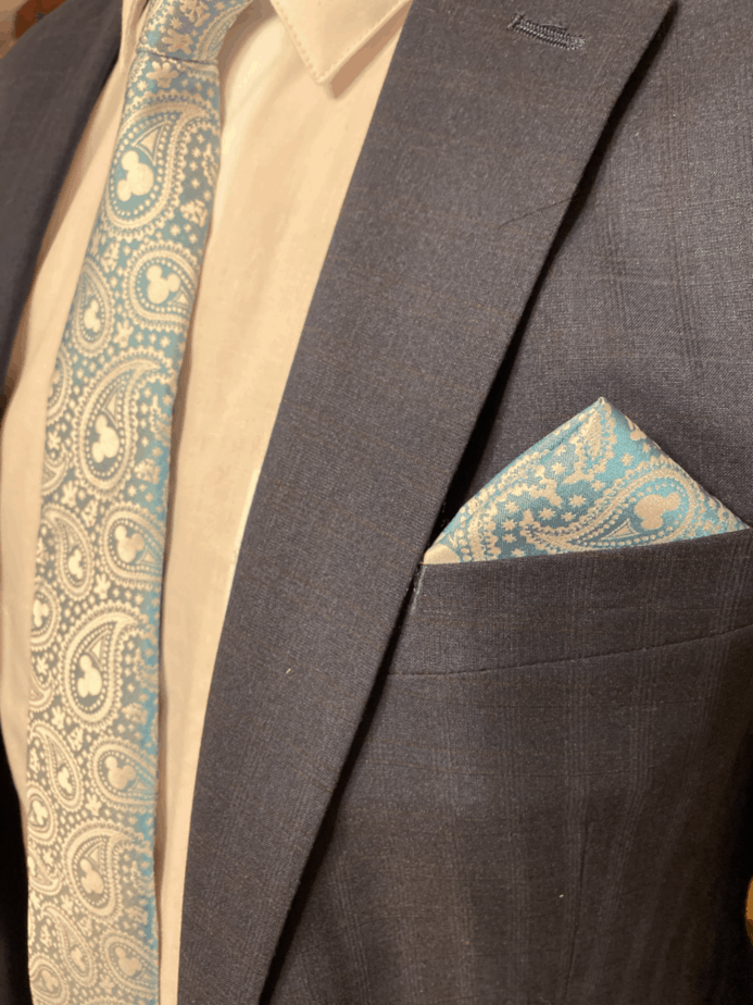 disney mens fashion blue paisley tie and pocket square