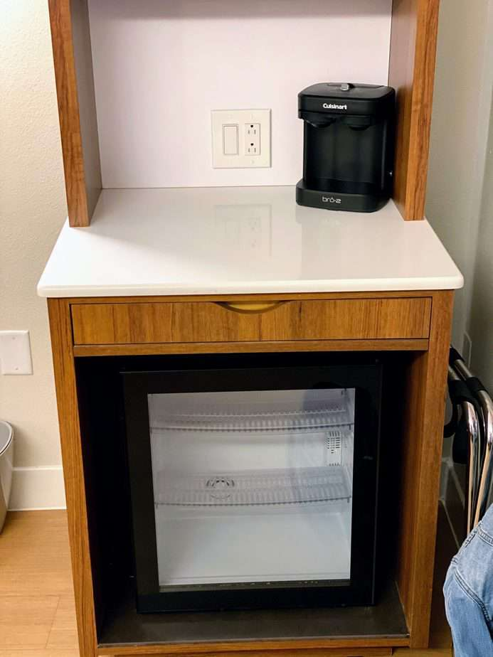 fridge and coffee maker at disney world pop century