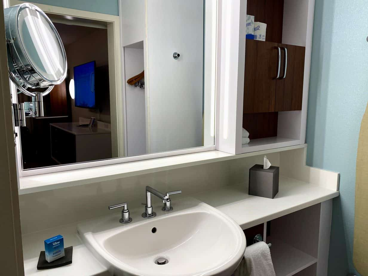 pop century bathroom sink and mirror