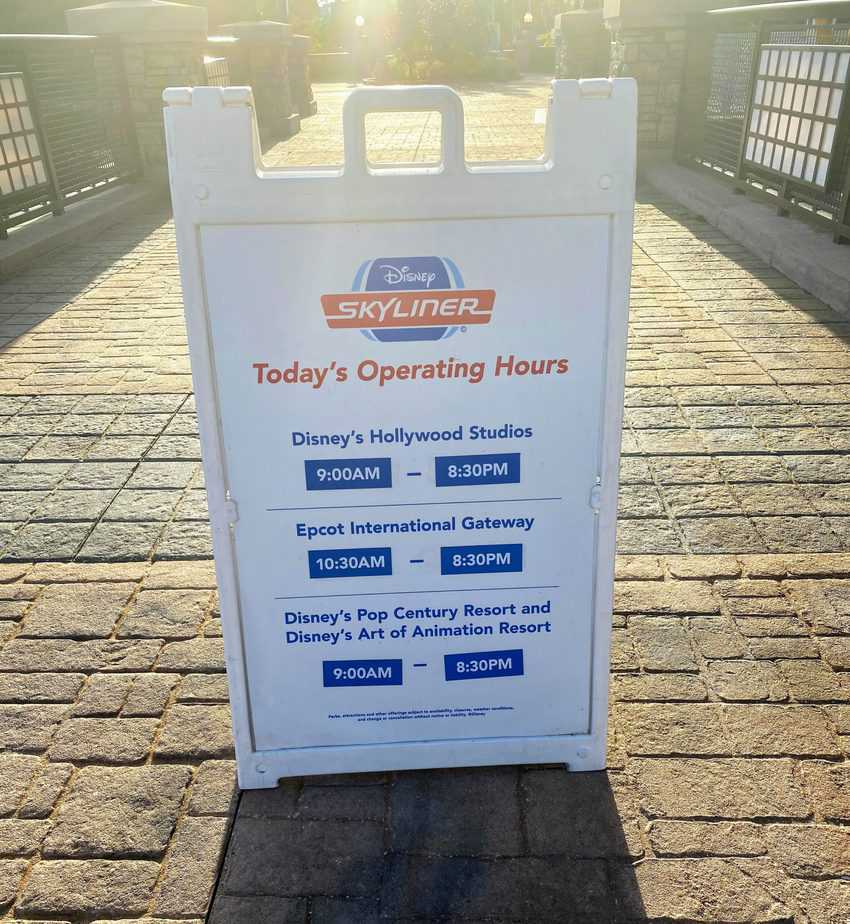 skyliner operating hours at Pop Century
