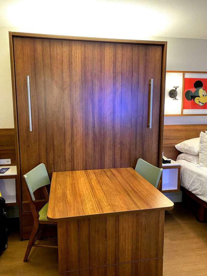 table at pop century murphy bed