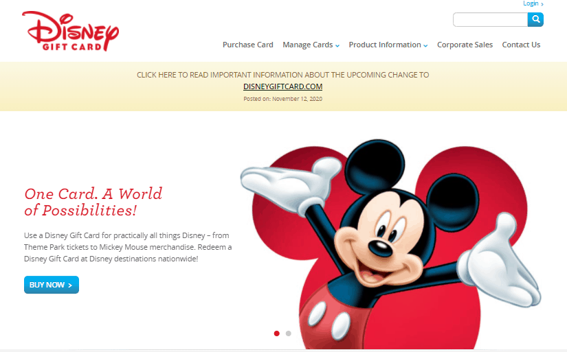 disney gift card website changes