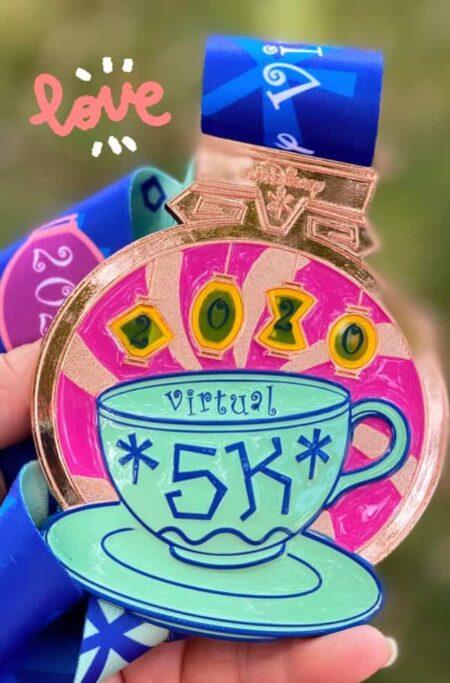 rundisney virtual race at home 5k tea cups medal