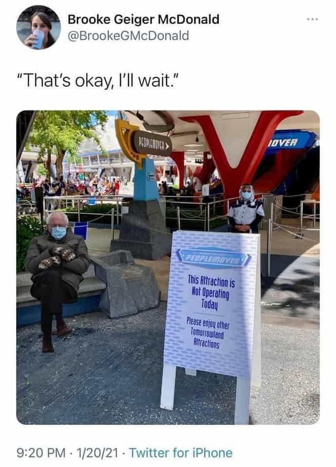Disney Bernie Sanders Inauguration memes people mover