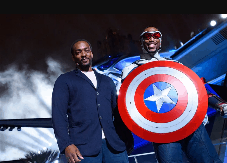 Anthony Mackie and captain america at disneyland avengers campus