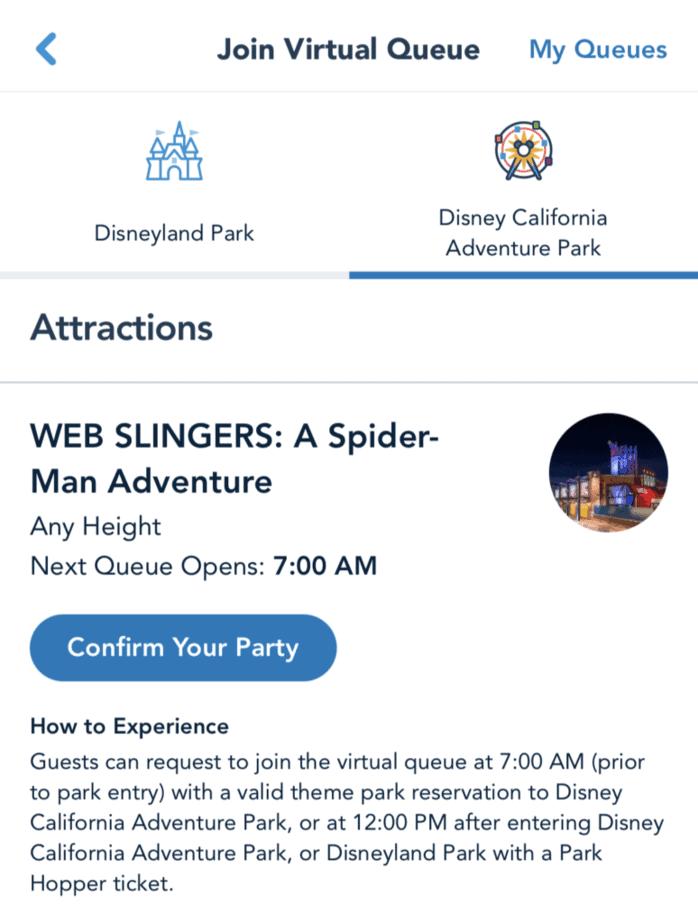 confirm party web slingers virtual queue