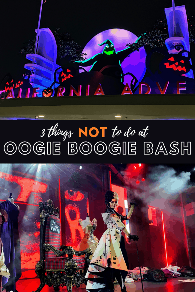 list of things not to do at the oogie boogie bash